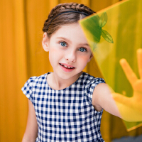 【每满200-120】安奈儿童装女童连衣裙夏装薄款简约2019新款洋气短袖格子公主裙子