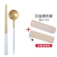 304不锈钢筷子勺子套装创意学生可爱筷盒子便携餐具三件套装旅行用品