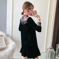 胖mm秋冬丝连衣裙大码女装显瘦性感网纱蕾丝拼接心机打底小黑裙 黑色 大码XL