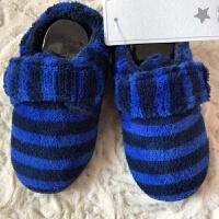 原单英单冬儿童棉拖鞋男女宝宝包跟防滑保暖软底卧室内居家地板鞋 蓝色 条纹