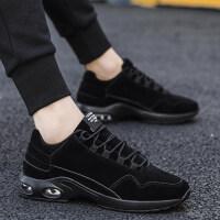 运动鞋加绒保暖棉鞋青少年气垫跑步男鞋2018新品秋冬季男士纯黑色