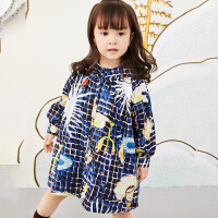 【1件3折价:191.7元】马拉丁童装女小童外套春装2020新款洋气图案中长款风衣外套