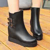 雪地靴女2018秋冬季新款厚底内增高加绒短靴保暖平底短筒女靴女鞋