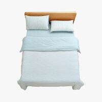 当当优品家纺 全棉日式针织床品 1.8米床 床笠四件套 条纹水蓝