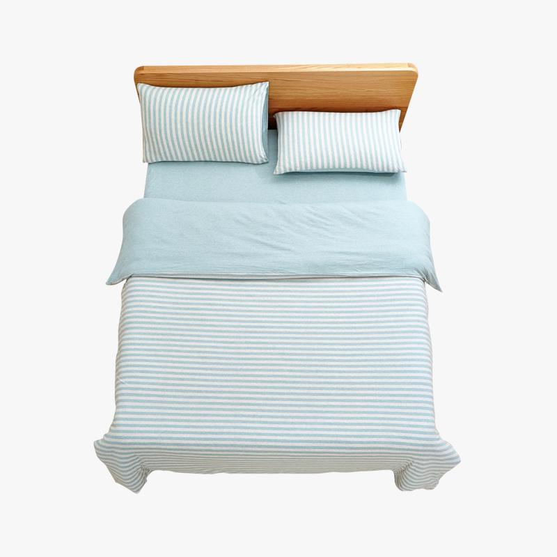 【2件5折】当当优品家纺 全棉日式针织床品 1.8米床 床笠四件套 条纹水蓝当当自营 MUJI制造商代工