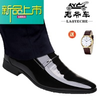 新品上市男皮鞋真皮春季19新款男士商务正装皮鞋青年韩版尖头西装男鞋子