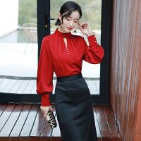 2019韩版宽松长袖衬衣设计感小众很仙心机上衣洋气红色雪纺衬衫女