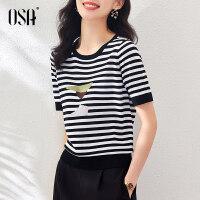 OSA冰丝短袖针织衫女夏季2021年新款薄款百搭套头黑白条纹上衣潮