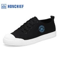 红蜻蜓旗下品牌HONCHIEF春秋新款经典潮流系带布鞋舒适男士休闲鞋子