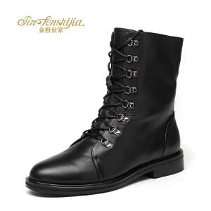 红蜻蜓旗下品牌金粉世家女鞋秋冬皮鞋鞋子女女靴子短靴JGC1401