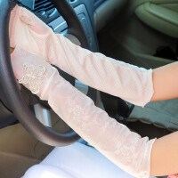 女士时尚蕾丝防晒半指手套中长款露指开车手臂套