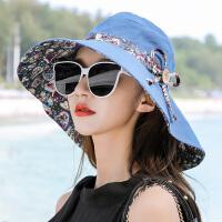 遮阳帽子女夏天可折叠大沿遮脸出游海边沙滩防晒韩版潮凉帽太阳帽