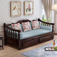 欧式客厅小户型多功能实木沙发床 可折叠客厅小户型1.58米单双人多功能欧式推拉坐卧两用 2米以上