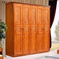 实木衣柜 六门卧室家具组装大衣橱储物柜