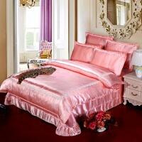 夏季裸睡天丝四件套冰丝夏天凉被套丝绸贡缎1.8m床单真丝床上用品 藕色 淡雅玉色-侧拍图