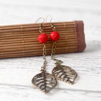 手工饰品 合金红色手雕珠流苏耳线耳环女 长款气质耳坠