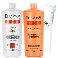 Kerastase/卡诗 奥丽恒卷洗发水1000ml+蛋白护发素1000ml洗护套装 进口专业洗护发 护卷滋润