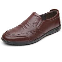 2019低帮男鞋棉鞋子中老年休闲鞋套脚皮鞋软底轻质爸爸鞋