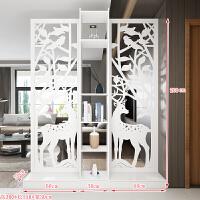 时尚屏风创意隔断装饰柜简易客厅房间卧室移动门厅玄关柜简约现代 生财有鹿高200*长150cm 米白