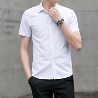 短袖衬衫男 夏季商务衬衫男士短袖休闲衬衣韩版修身帅气白寸衫