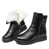 2019马丁靴女中筒女靴平底滑羊羔毛加厚保暖妈妈鞋棉鞋 黑色纯羊毛