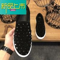 新品上市18新款真皮休闲男鞋平底板鞋时尚铆钉潮鞋男一脚蹬鞋 黑色 收藏送袜子