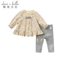 davebella戴维贝拉2019秋季新款女童套装宝宝碎花两件套DBJ11490