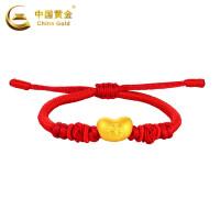 中国黄金足金手链福豆编绳手链女珠宝首饰