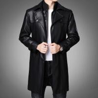 冬季新款中年男士中�L款加厚海��皮衣�A克外套0PIERRE0CARDIN066 黑色668
