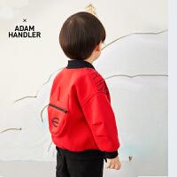 【6折价:359.4元】马拉丁童装男小童外套春装2020年新款红色短款开衫夹克外套