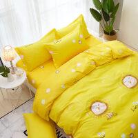 阳光狮子大学生宿舍用床单人被套150x200cm黄色三件套四件套男女k 黄色 阳光狮子