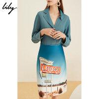 Lily夏女装不对称领假两件通勤长袖连衣裙1190C7185