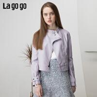 【清仓5折价269】lagogo2019春季新款外套机车pu皮夹克短款皮外套皮衣女IARR132A56