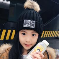 秋冬季新款毛线帽子女士韩版百搭学生保暖针织帽ins风毛球套头帽