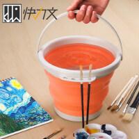 快力文洗笔桶折叠硅胶水桶美术涮笔筒颜料水粉绘画水彩画画器专用