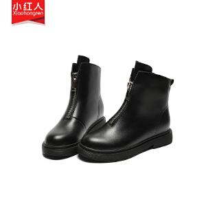 小红人【年终狂欢】2018新款牛二层加绒短靴女鞋子中跟平底秋季英伦拉链短筒靴百搭女靴子W8116