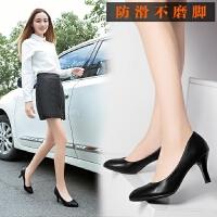 女士职业黑色细跟高跟鞋尖头浅口5cm秋季夏天礼仪工作鞋单根上班