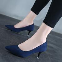 高跟鞋女细跟黑色工作鞋百搭尖头单鞋浅口红色婚鞋绒面职业中低跟