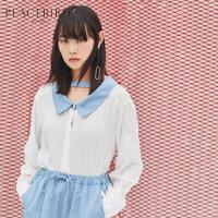 ins白色衬衫女长袖韩范2019夏春装新款撞色宽松雪纺简约学生上衣