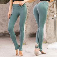 时尚露肚脐显瘦健身房跑步运动健身长裤速干踩脚弹力紧身瑜伽裤女