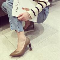 粗跟高跟尖头浅口高跟鞋简约时尚韩版百搭低帮鞋学生女士春季新款