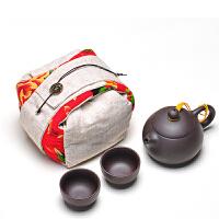一壶两杯旅行茶具收纳包 宜兴紫砂西施壶茶杯功夫茶具套装