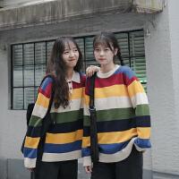 【超火爆款】彩虹条纹毛衣女泫雅2019秋装新款针织衫宽松polo领套头上衣