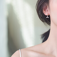气质珍珠长款银耳钉女耳饰品人鱼姬耳环超仙后挂式吊坠