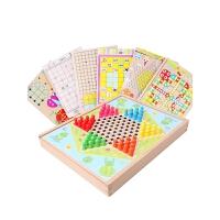 儿童益智亲子玩具儿童节礼物大号十合一木质制跳棋亲子桌游