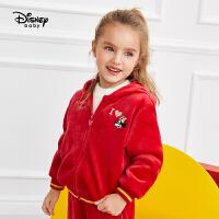 【2件5折后价:179.5元】迪士尼童装秋冬新款儿童女休闲外套长裤两件套女童水晶绒运动套装