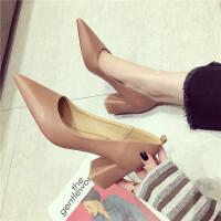 女鞋2018秋季新款简约黑色百搭尖头高跟鞋浅口粗跟单鞋中跟职业鞋