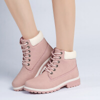 平底真皮大码休闲马丁靴女短靴子2018新款单靴秋冬款情侣靴 粉红色 单里
