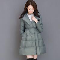 2019新款韩版冬装新款a字棉衣女宽松显瘦裙摆中长款加厚收腰外套