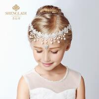 女童发饰吊坠额饰花童礼服皇冠项链配饰 儿童头饰公主额头链
